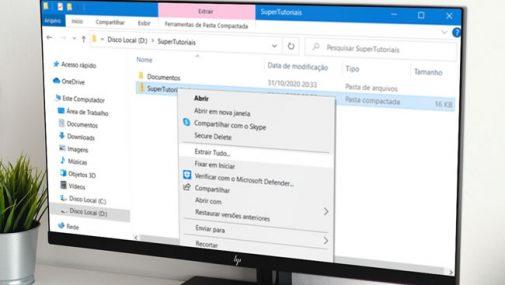 Como restaurar a opção Extrair Tudo no Windows